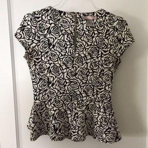 peplum floral knit top, size M